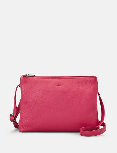 Miller Raspberry Leather Double Zip Top Cross Body Bag - Yoshi