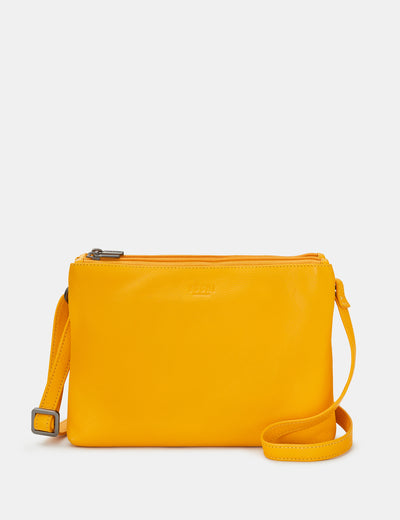 Miller Yellow Leather Double Zip Top Cross Body Bag - Yoshi