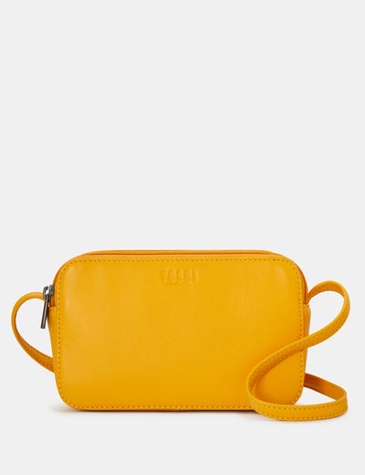 Porter Yellow Leather Cross Body Bag - Yoshi