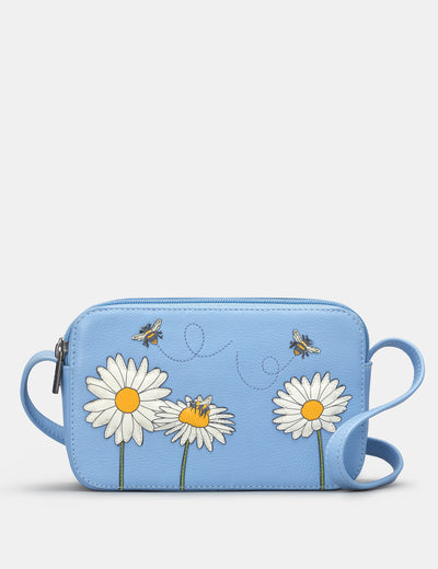 Bee Happy Blue Leather Porter Cross Body Bag - Yoshi