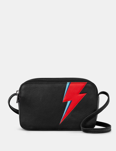 Lightning Bolt Black Leather Porter Cross Body Bag - Yoshi