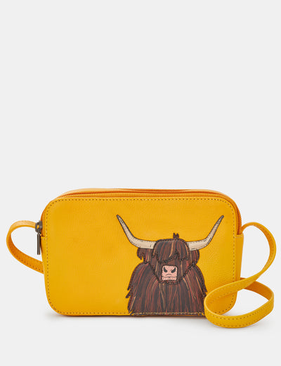 Highland Cow Yellow Leather Porter Cross Body Bag - Yoshi