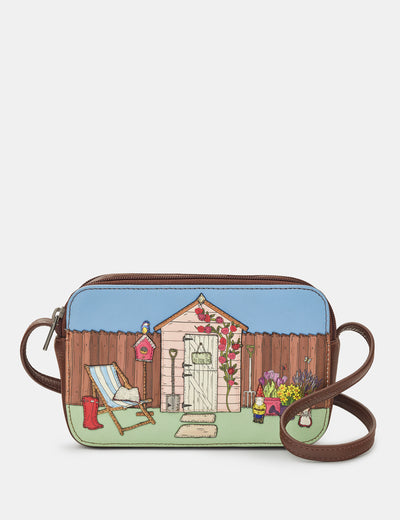 Potting Shed Brown Leather Porter Cross Body Bag - Yoshi
