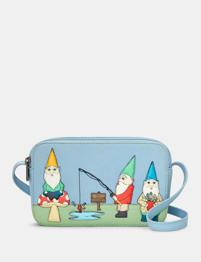 Gnome Sweet Gnome Blue Leather Porter Cross Body Bag - Yoshi