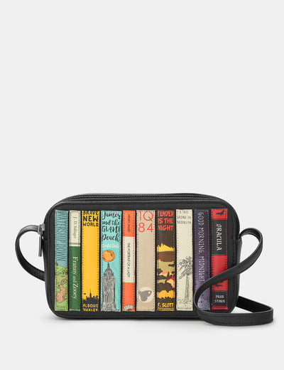 Bookworm Black Leather Porter Cross Body Bag - Yoshi
