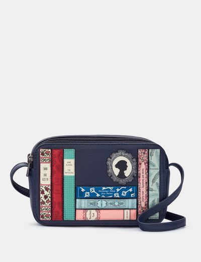 Jane Austen Bookworm Navy Leather Porter Cross Body Bag - Yoshi