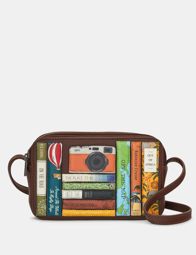 Travel Bookworm Brown Leather Porter Cross Body Bag - Yoshi