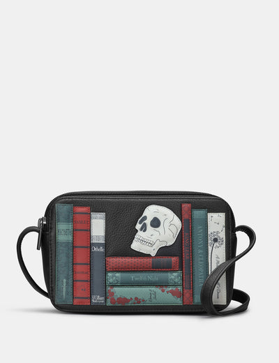 Shakespeare Bookworm Black Leather Porter Cross Body Bag - Yoshi