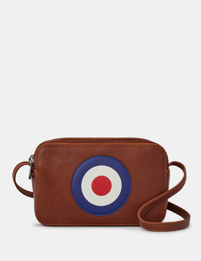Mod Target Brown Leather Porter Cross Body Bag - Yoshi