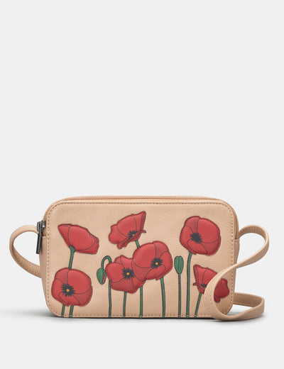Poppy Flower Frappe Leather Porter Cross Body Bag - Yoshi
