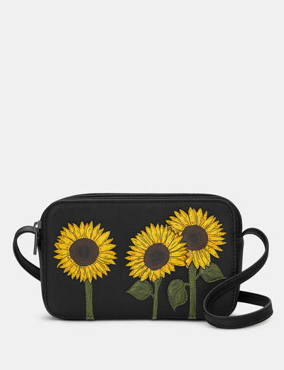 Sunflowers Black Leather Porter Cross Body Bag - Yoshi