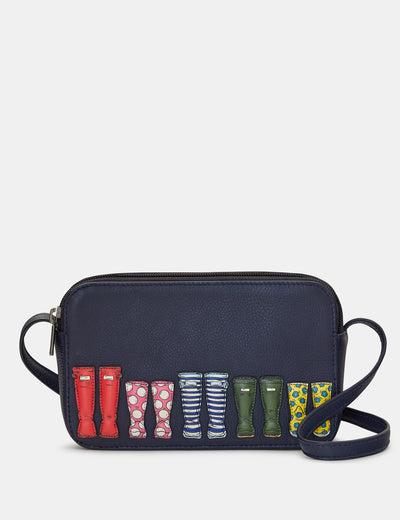 Rainy Day Navy Leather Porter Cross Body Bag - Yoshi