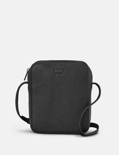 Dylan Black Leather Cross Body Bag - Yoshi