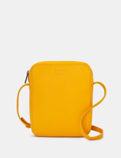 Dylan Yellow Leather Cross Body Bag - Yoshi