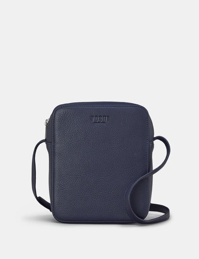 Dylan Navy Leather Cross Body Bag - Yoshi