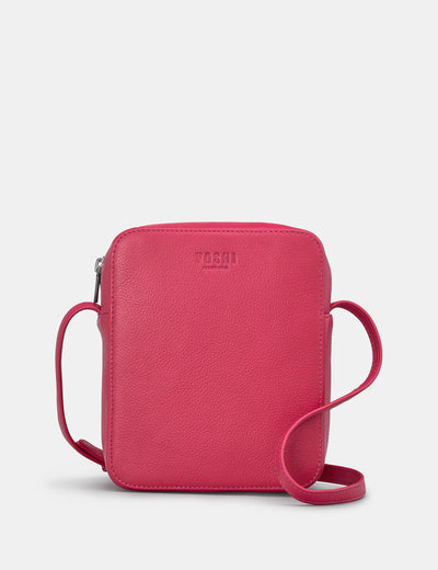 Dylan Raspberry Leather Cross Body Bag - Yoshi