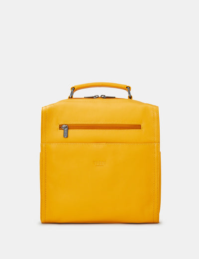 Grayson Yellow Leather Backpack - Yoshi