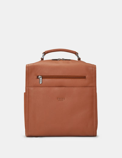 Grayson Tan Leather Backpack - Yoshi