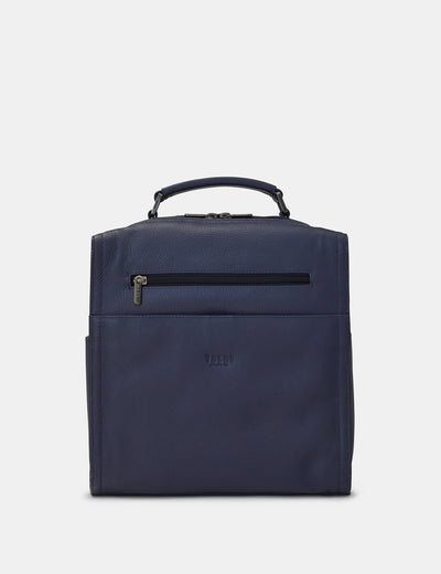 Grayson Navy Leather Backpack - Yoshi