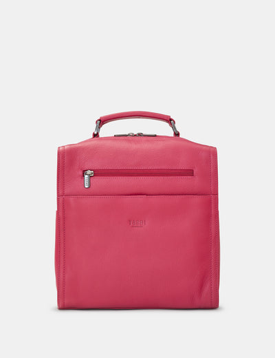 Grayson Raspberry Leather Backpack - Yoshi