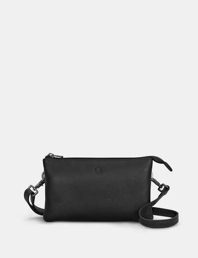 Logan Black Leather Mulitway Cross Body Bag - Yoshi