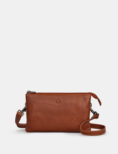 Logan Brown Leather Mulitway Cross Body Bag - Yoshi