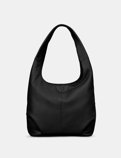 Meehan Black Leather Slouch Shoulder Bag - Yoshi