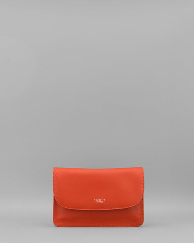 Hampstead Tangerine Leather Clutch Bag