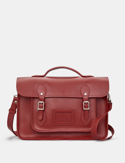 "Belforte 14"" Red Leather Satchel - Yoshi"