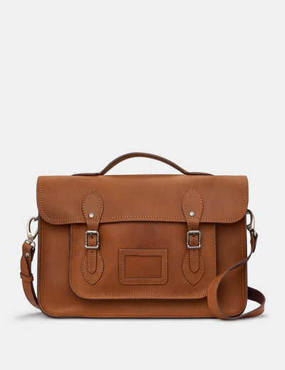 "Belforte 14"" Brown Leather Satchel - Yoshi"
