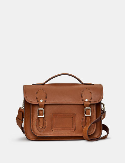 "Dewhurst 10.5"" Brown Leather Satchel - Yoshi"