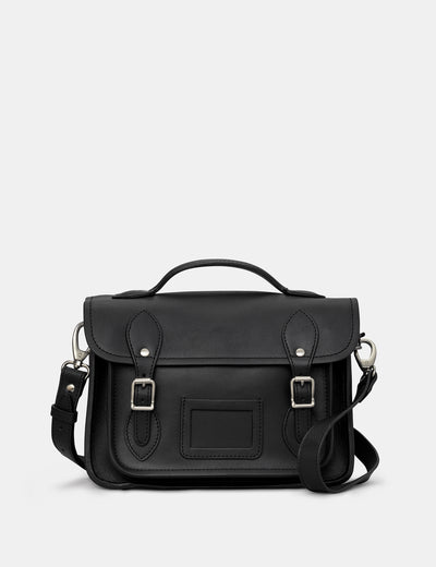 "Dewhurst 10.5"" Black Leather Satchel - Yoshi"