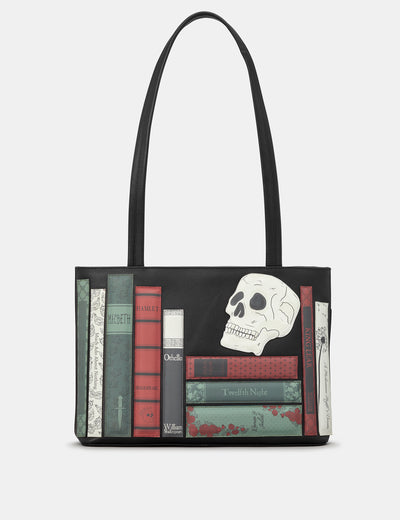 Shakespeare Bookworm Black Leather Shoulder Bag - Yoshi