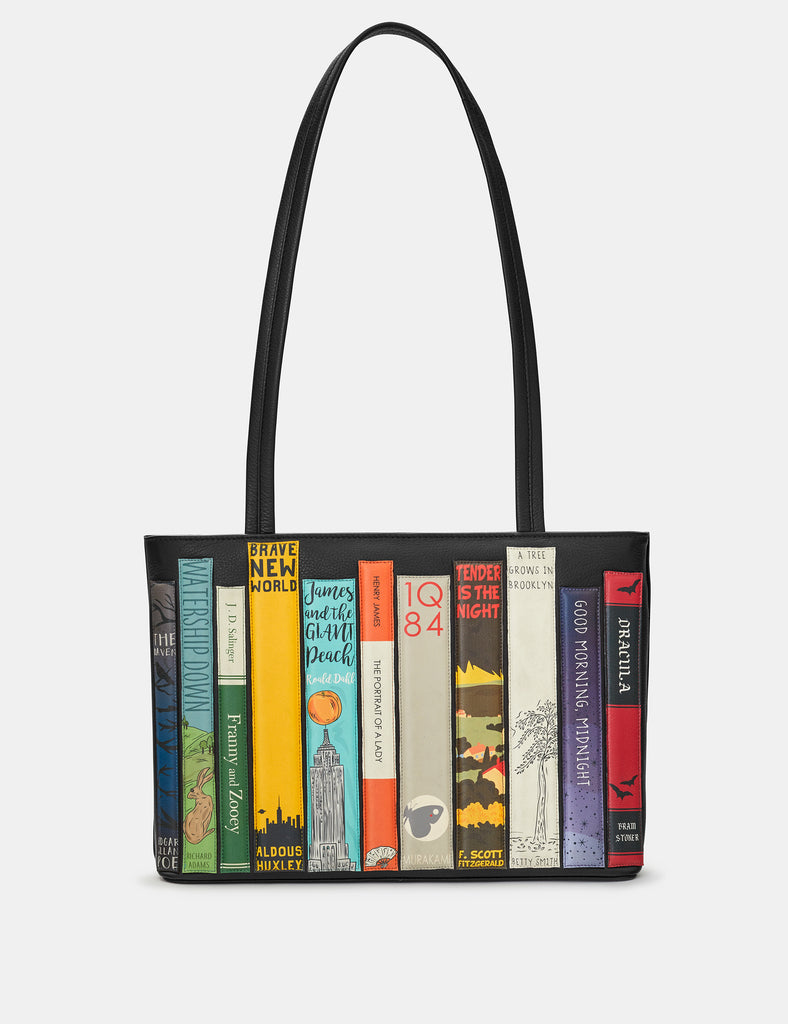 Bookworm Black Leather Shoulder Bag - Yoshi