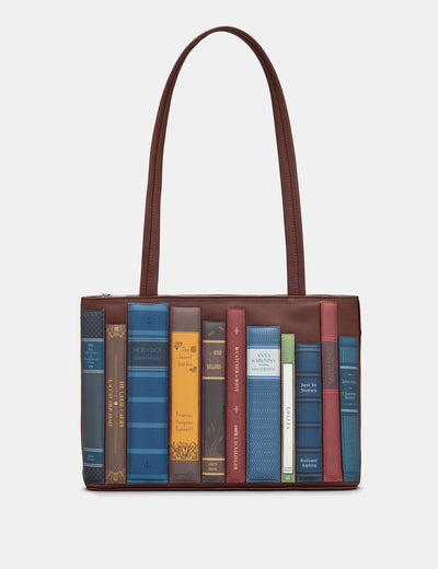 Bookworm Brown Leather Shoulder Bag - Yoshi
