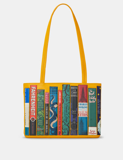 Bookworm Yellow Leather Shoulder Bag - Yoshi
