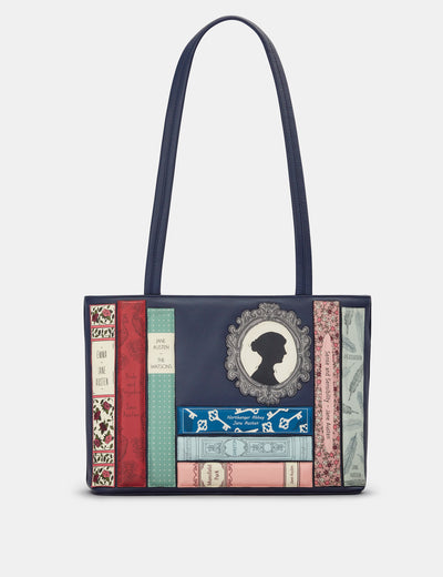 Jane Austen Bookworm Navy Leather Shoulder Bag - Yoshi