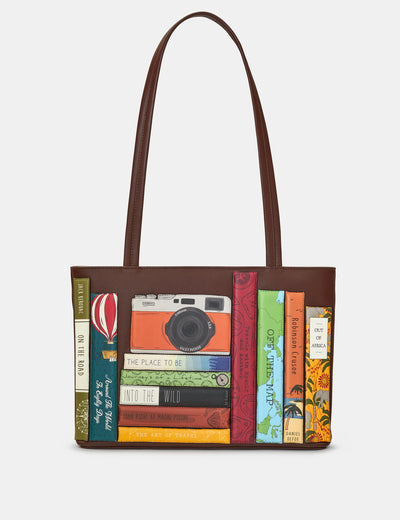 Travel Bookworm Brown Leather Shoulder Bag - Yoshi