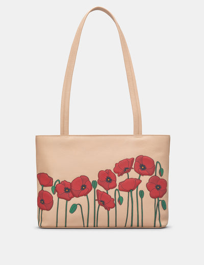 Poppy Flower Frappe Leather Shoulder Bag - Yoshi