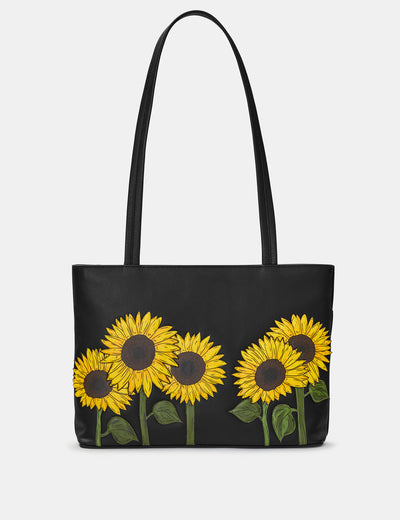 Sunflowers Black Leather Shoulder Bag - Yoshi