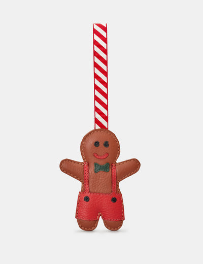Gingerbread Boy Tan Leather Christmas Tree Decoration - Yoshi