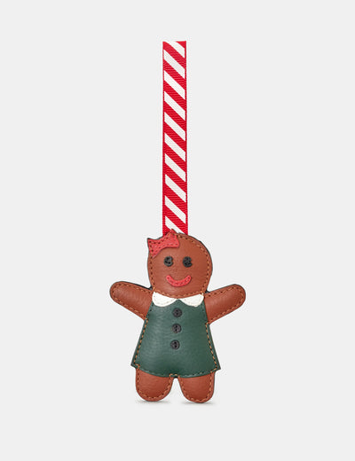 Gingerbread Girl Tan Leather Christmas Tree Decoration - Yoshi