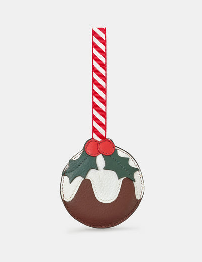Christmas Pudding Brown Leather Tree Decoration - Yoshi