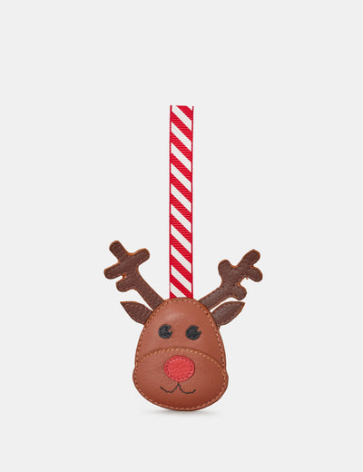 Tan Leather Rudolph The Reindeer Christmas Tree Decoration - Yoshi