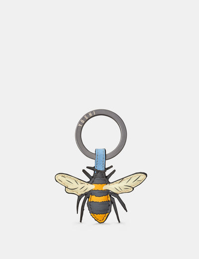 Bee Happy Blue Leather Keyring - Yoshi