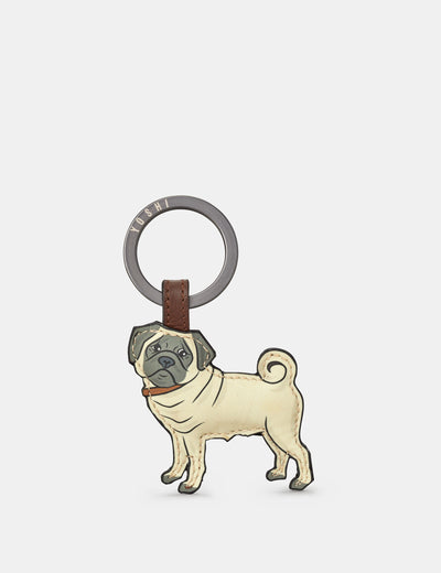Dog Walk Pug Brown Leather Keyring - Yoshi