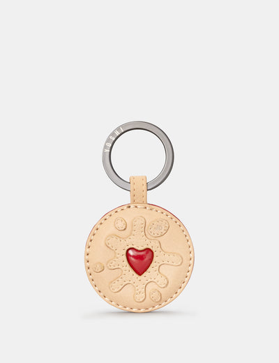 Jammie Dodger Biscuit Applique Leather Keyring - Yoshi