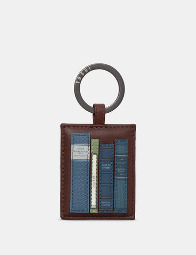Bookworm Brown Leather Keyring - Yoshi