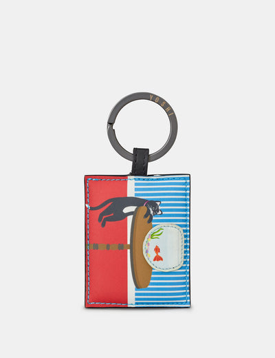 Leather Cat And Fish Keyring - Yoshi