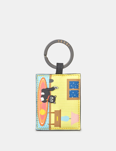 Leather Playful Cat Keyring - Yoshi